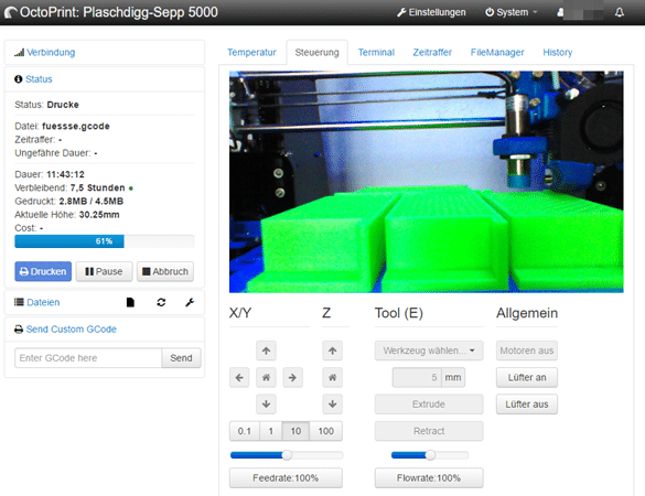 Der 3D Drucker im Wlan mit Octoprint