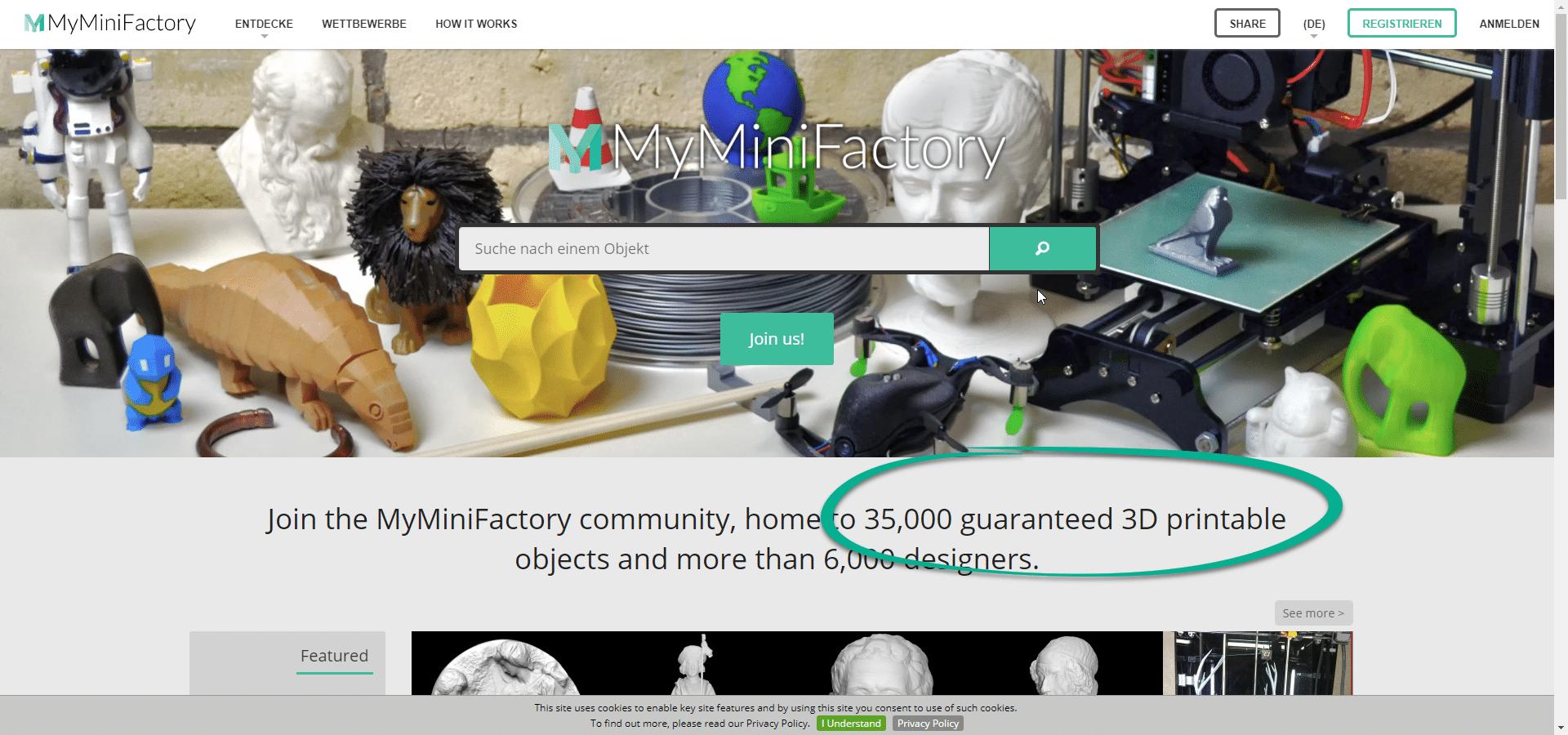 3D Druck Vorlagen auf MyMinifactory