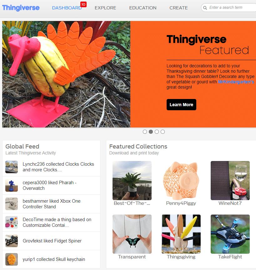 3D Druck Vorlagen auf Thingiverse